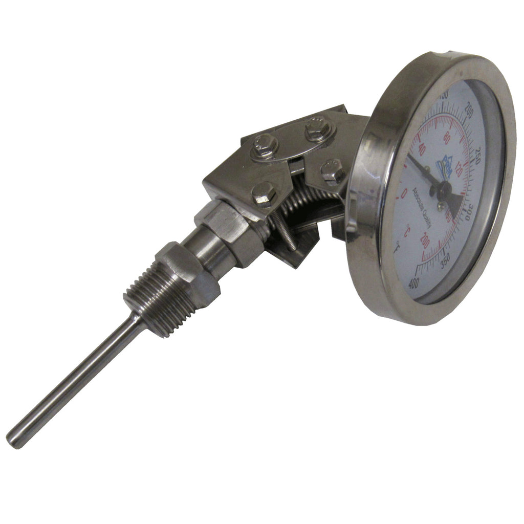 PRM Temperature Gauge, 32-400°F / 0-200°C, 3 Inch Dial, 304 Stainless Steel Case & Stem, 1/2 Inch NPT Multi Angle Connection
