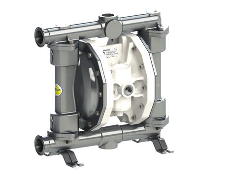 "Fluimac Phoenix PF160 Air Operated Double Diaphragm Pump - Food Grade - 316 SS Body - 1.5"" Clamp - 45 GPM - PTFE Seals"