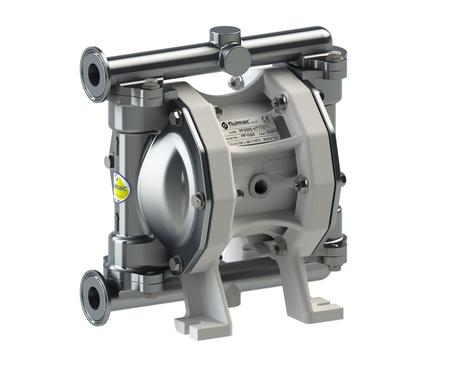 "Fluimac Phoenix PF50 Air Operated Double Diaphragm Pump - Food Grade - 316 SS Body - 1"" Clamp - 19 GPM - PTFE Seals"