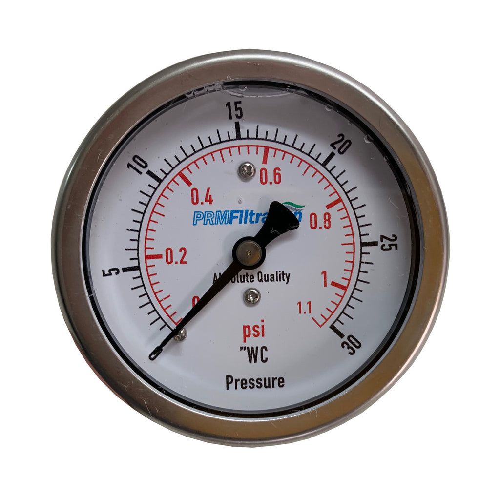 "PRM 304 Stainless Steel Pressure Gauge with Brass Internals, 0-30""WC, 2-1/2 Inch Dial, 1/4 Inch NPT Back Mount"