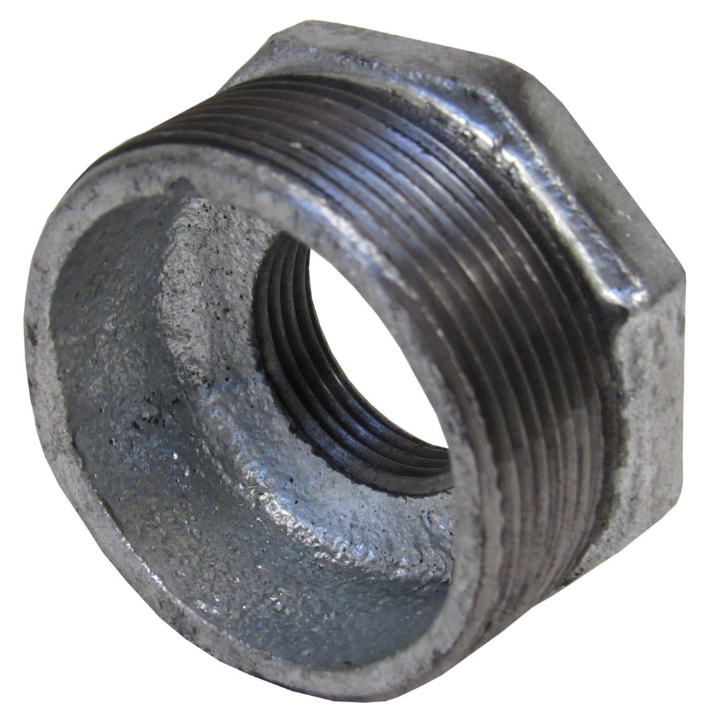 Galvanized Reducing Bushing, 1-1/2 Inch x 1/2 Inch NPT Thread