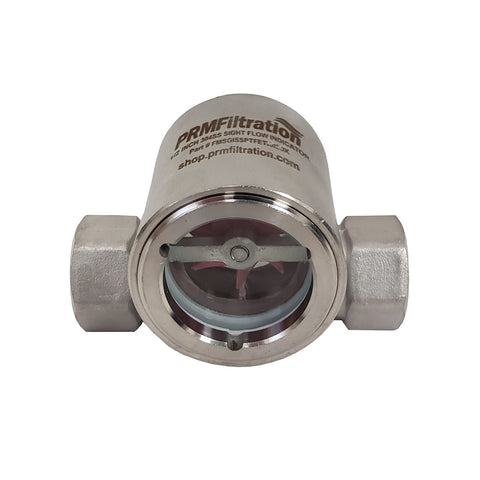 PRM Sight Flow Indicator, 1/2 Inch, 304 Stainless Steel, PTFE Seal and Impeller
