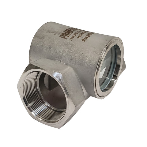 PRM Sight Flow Indicator, 2 Inch, 304 Stainless Steel, PTFE Seal and Impeller
