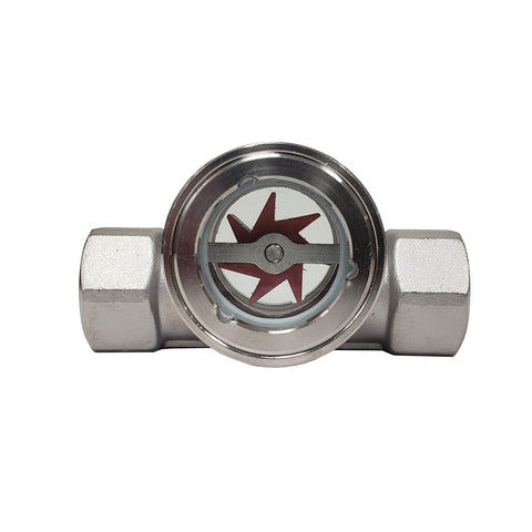 PRM Sight Flow Indicator, 1-1/4 Inch, 304 Stainless Steel, PTFE Seal and Impeller
