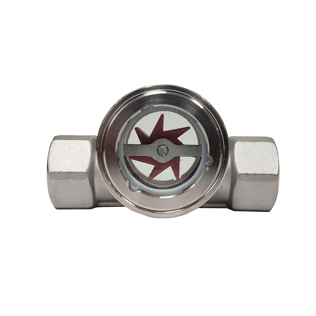 PRM Sight Flow Indicator, 1 Inch, 304 Stainless Steel, PTFE Seal and Impeller