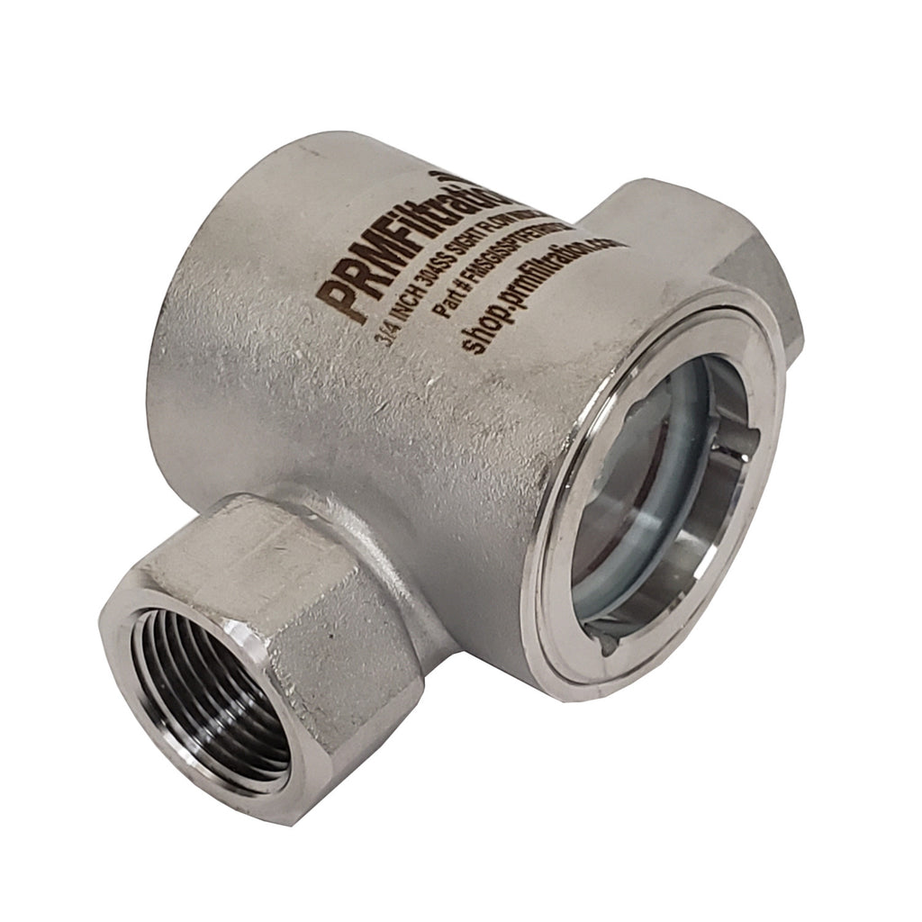 PRM Sight Flow Indicator, 3/4 Inch, 304 Stainless Steel, PTFE Seal and Impeller