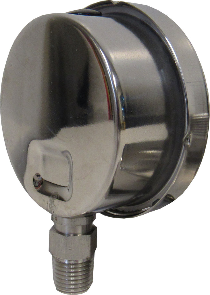 PRM Pressure Gauge, 0-150 PSI - 2.5 Inch Stainless Steel Case and Internals, 1/4 Inch NPT Bottom Mount