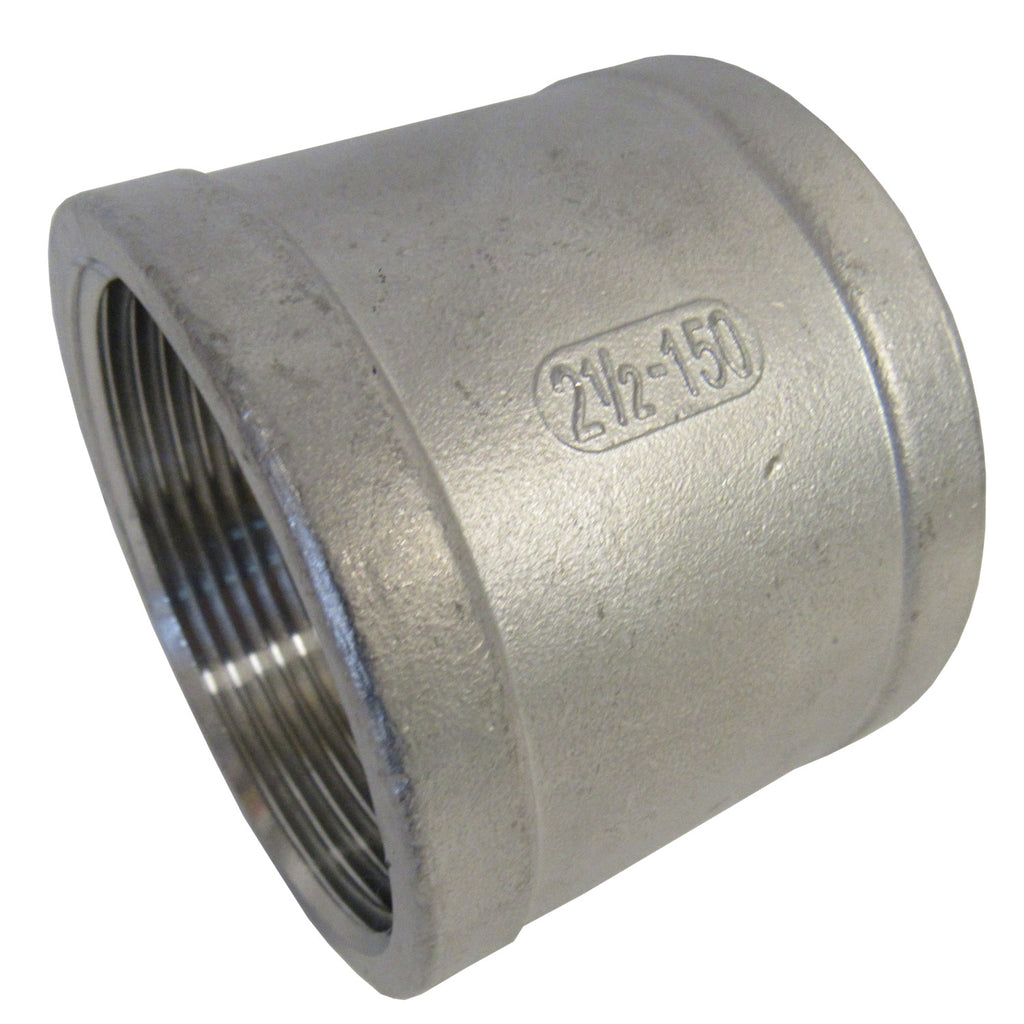 Stainless Steel Straight Coupling, 304 SS, Class 150 - 1-1/4 Inch NPT