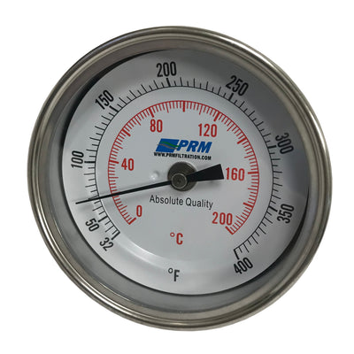 PRM Temperature Gauge, 32-400°F / 0-200°C, 3 Inch Dial, 304 Stainless Steel Case & Stem, 1/2 Inch NPT Back Mount