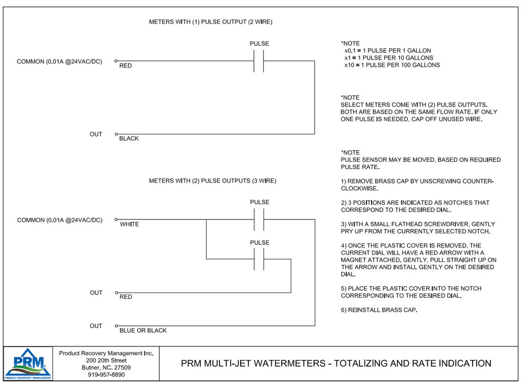 PRM 2 Inch Multi-Jet Brass Totalizing Water Meter with Pulse Output Wiring Diagram