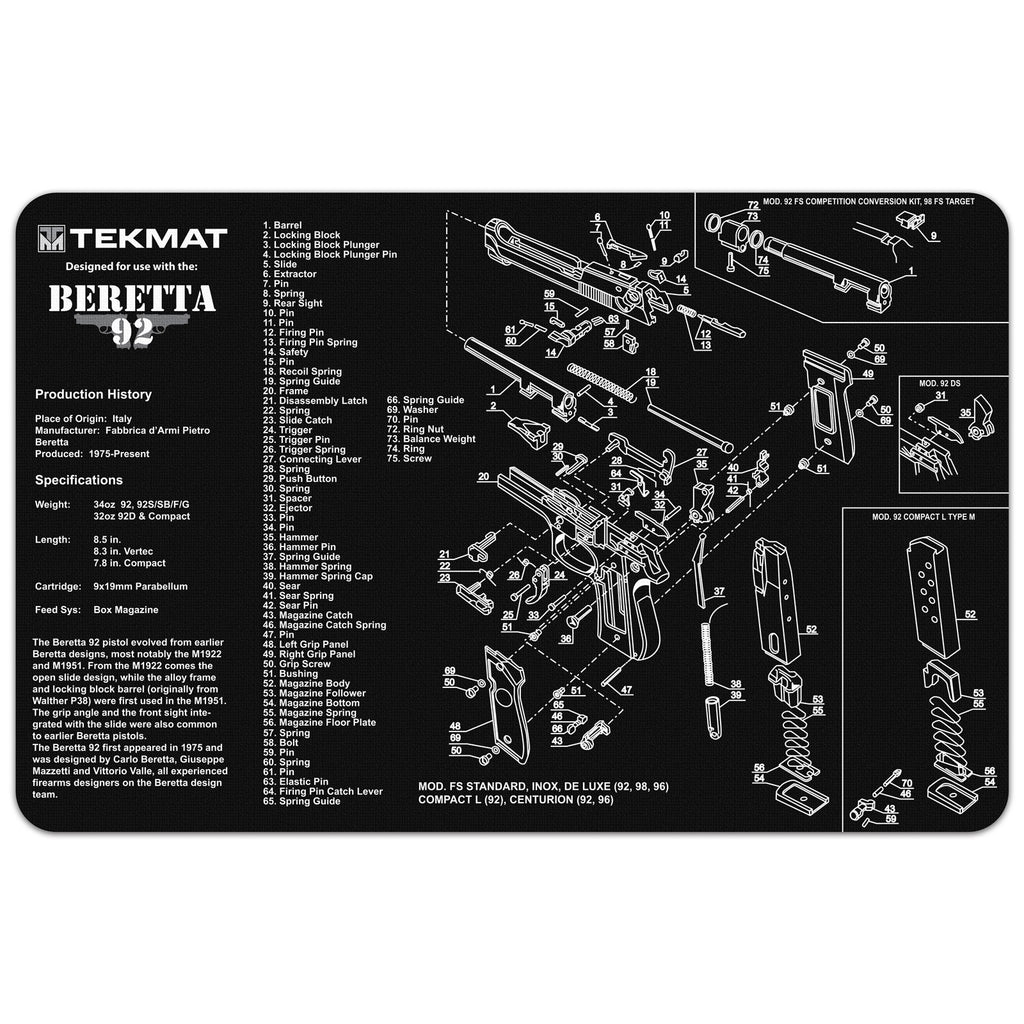 "Beretta® 92 - M9 - 11"" x 17"" Oversized Workarea"
