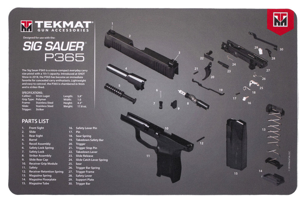 "Sig Sauer® P365 Gun Cleaning Mat - 11"" x 17"" Oversized Workarea"