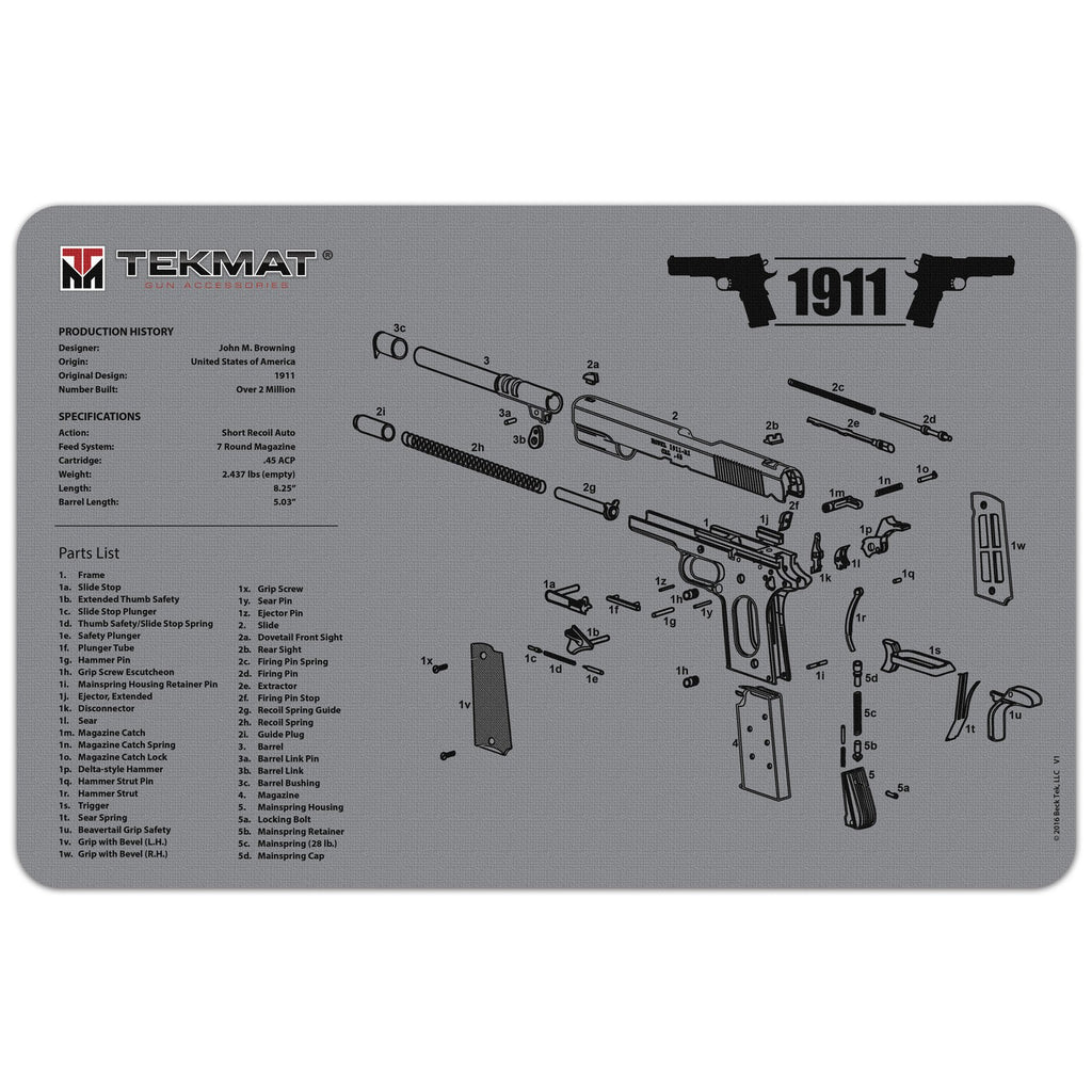 "1911 Grey - Gun Cleaning Mat - 11"" x 17"" Oversized Workarea"