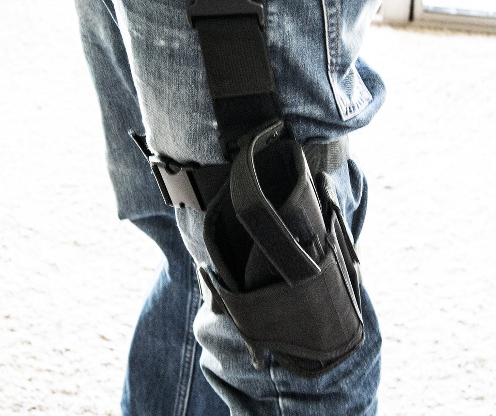 Black Tactical Leg Holster for Gun - Universal Fit For Glock, Smith & Wesson, Ruger, & More! - Under Control Tactical - 2