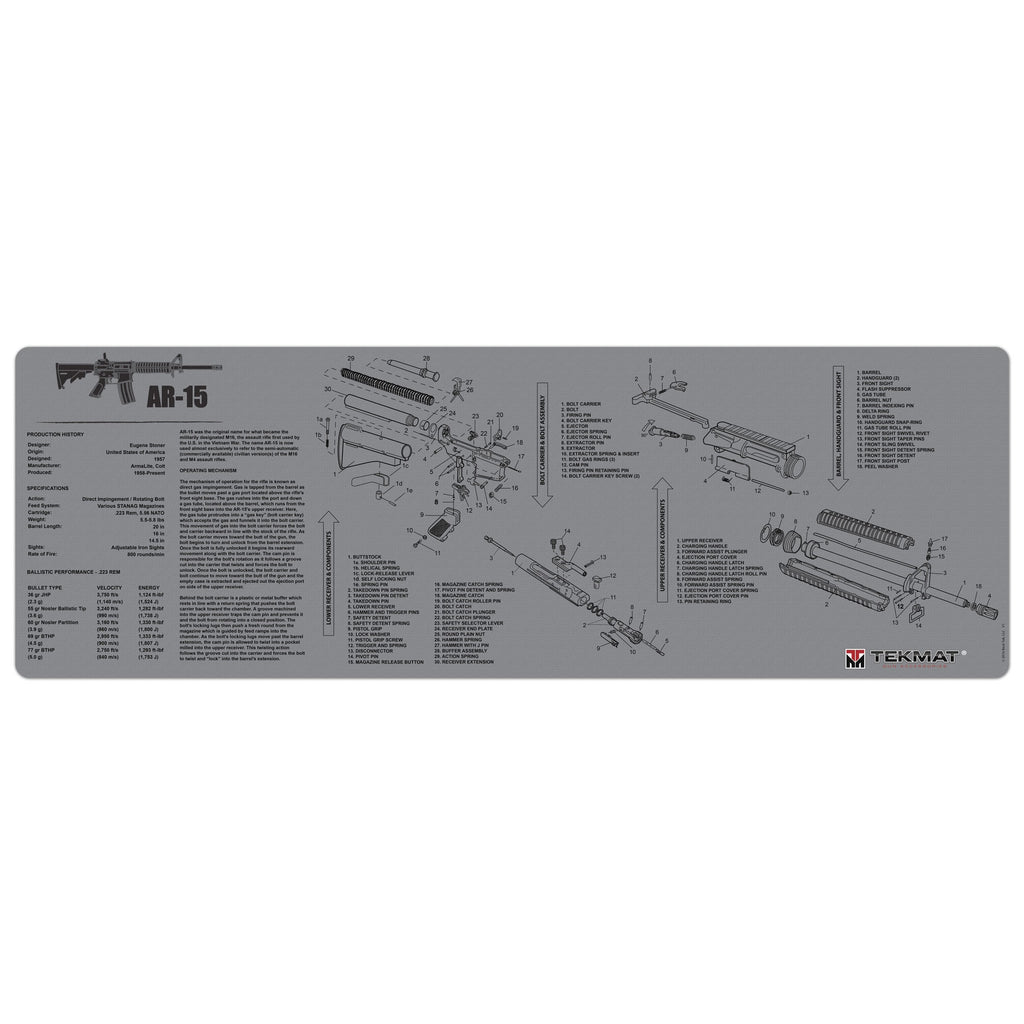 "AR-15 Grey Gun Cleaning Mat - 12"" x 36"" Oversized Workarea"
