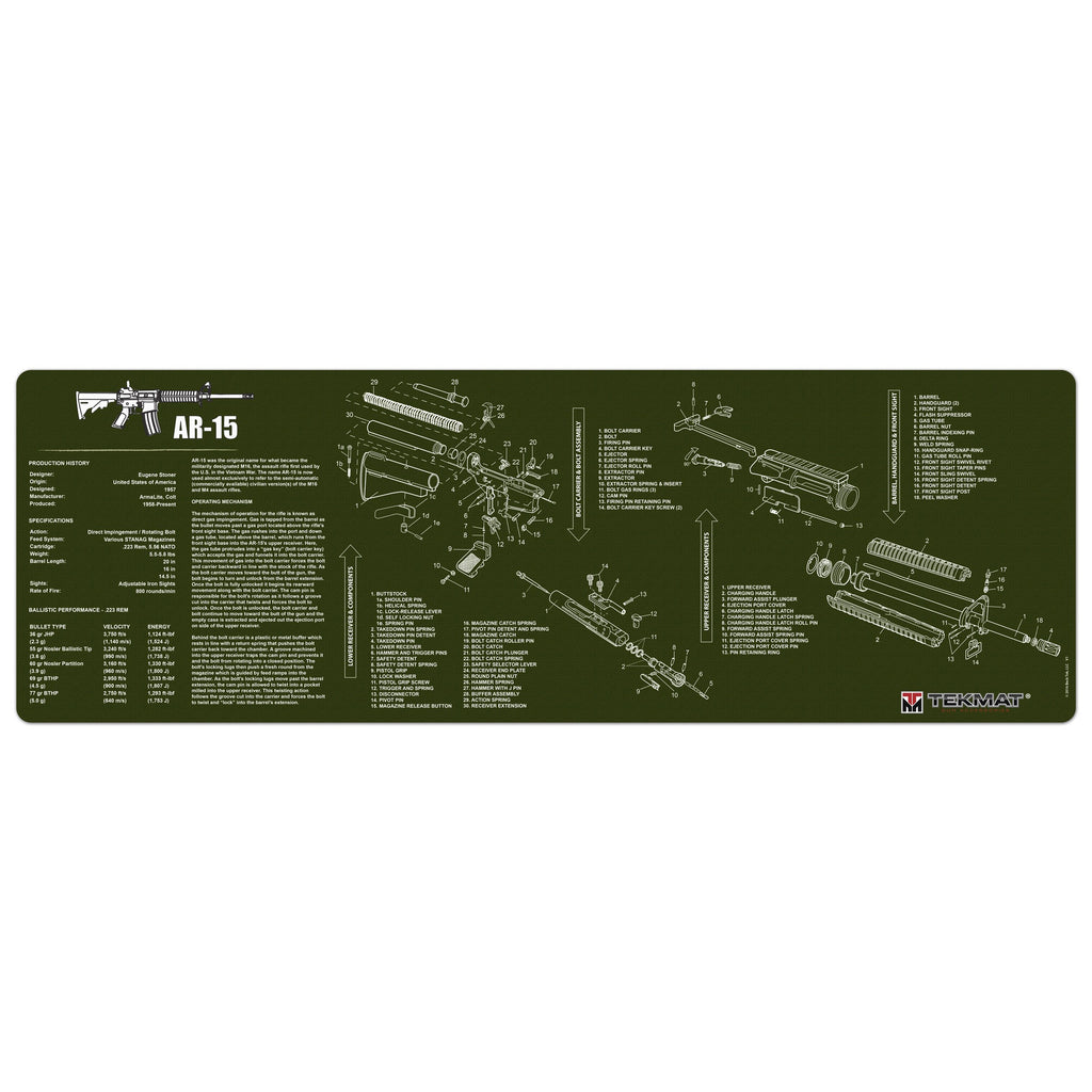 "AR-15 Olive Drab Gun Cleaning Mat - 12"" x 36"" Oversized Workarea"