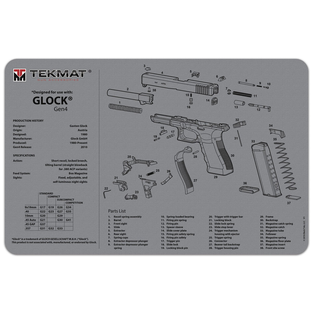 "Glock® Gen4 Grey Gun Cleaning Mat - 11"" x 17"" Oversized Workarea"