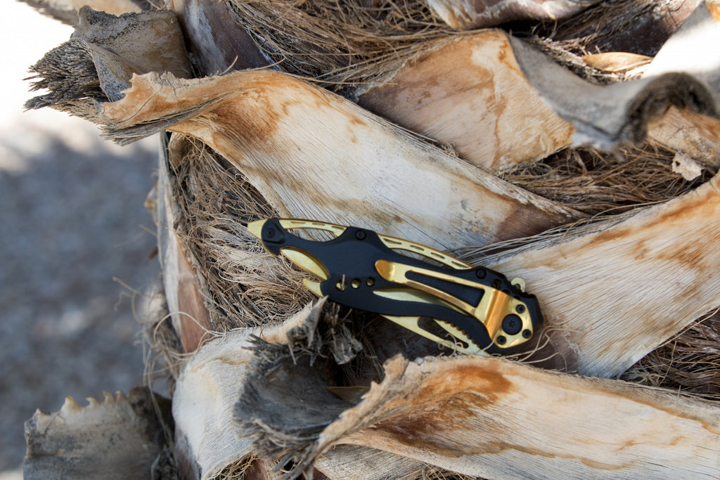Gold Folding Pocket Knife with Titanium Coated Stainless Steel Blade