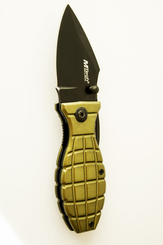 "Best Grenade Folding Pocket Knife - Special ""Military"" Edition - Under Control Tactical - 4"