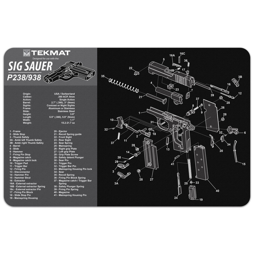 "Sig Sauer® P229® Gun Cleaning Mat - 11"" x 17"" Oversized Workarea"