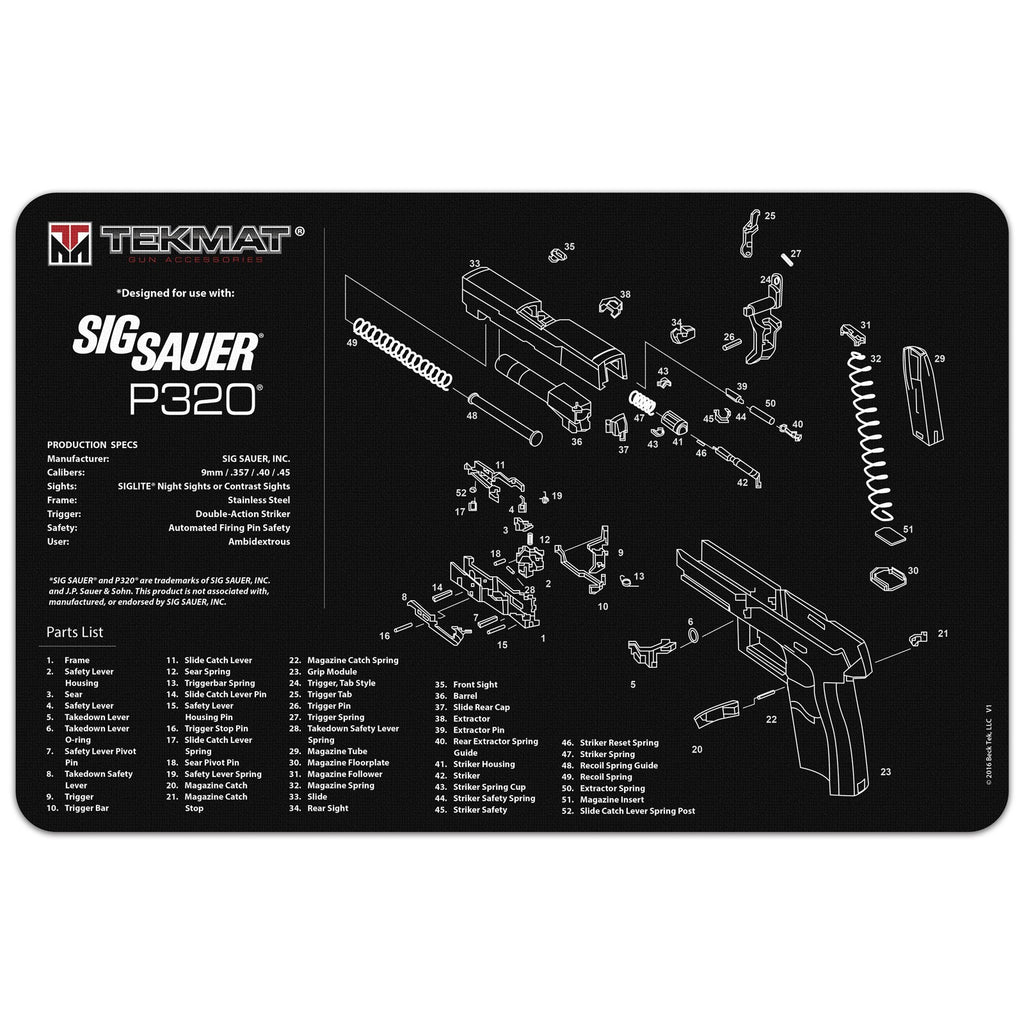 "Sig Sauer® P320® Gun Cleaning Mat - 11"" x 17"" Oversized Workarea"