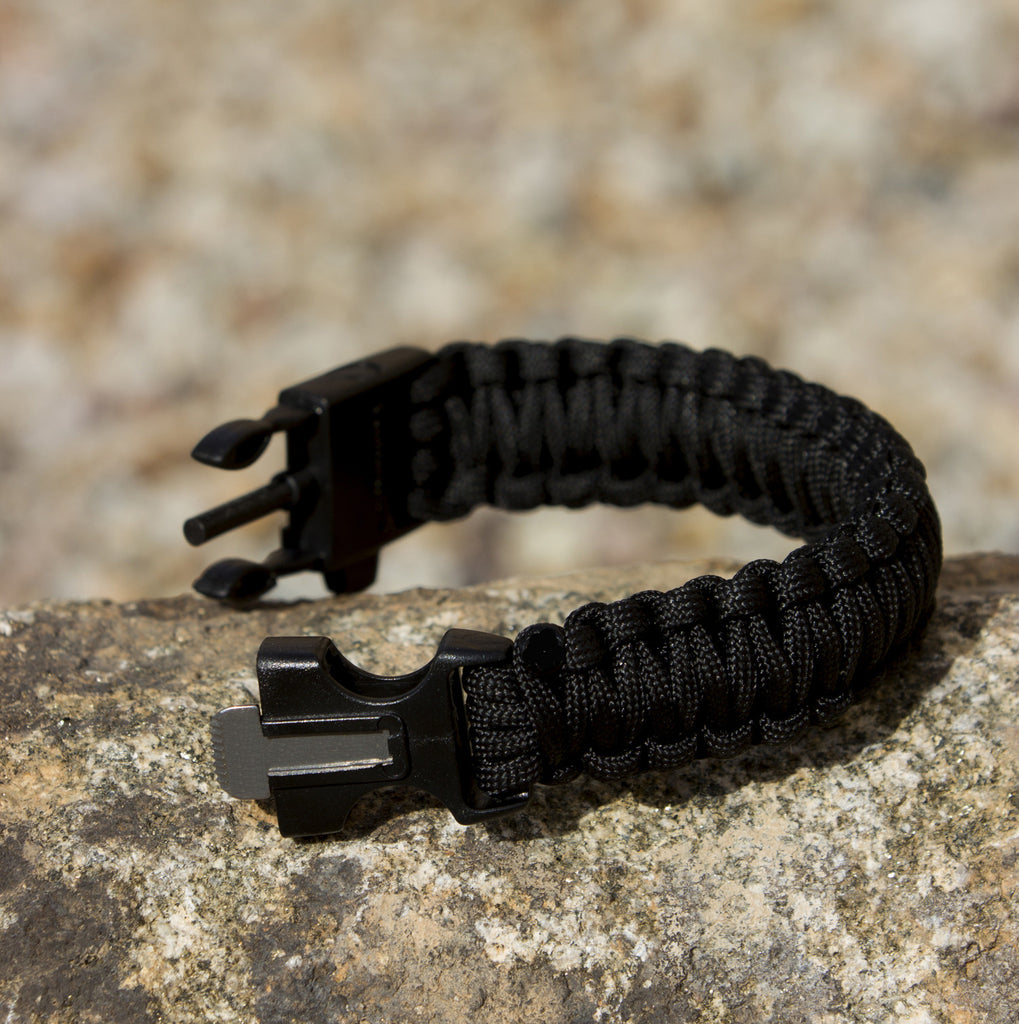 Black 550 Paracord Bracelet for Survival & Camping - Includes Built-In Emergency Whistle & Firestarter! - Under Control Tactical - 9