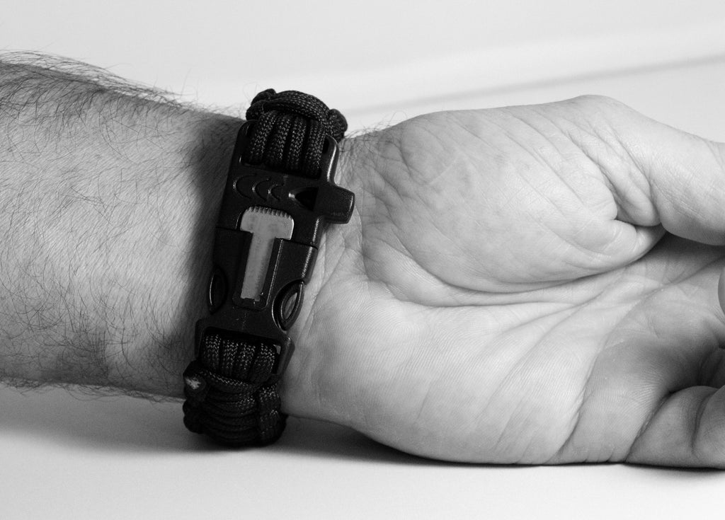 Black 550 Paracord Bracelet for Survival & Camping - Includes Built-In Emergency Whistle & Firestarter! - Under Control Tactical - 3