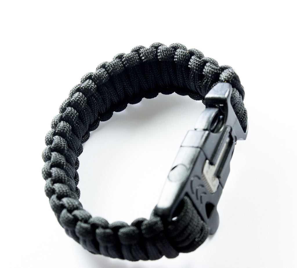 Black 550 Paracord Bracelet for Survival & Camping - Includes Built-In Emergency Whistle & Firestarter! - Under Control Tactical - 6