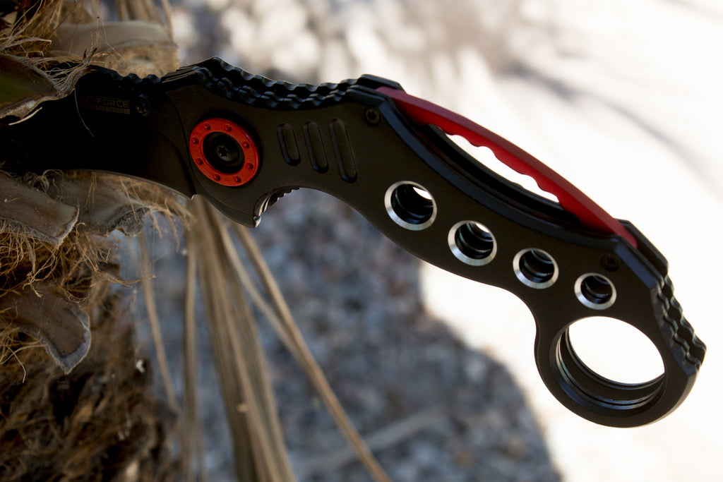 Black with Red Karambit Spring Assisted Pocket Knife - Under Control Tactical - 2