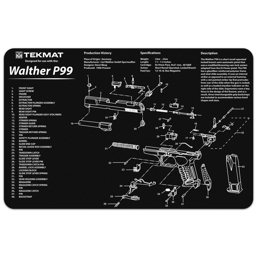 "Walther® P99 Gun Cleaning Mat - 11"" x 17"" Oversized Workarea"