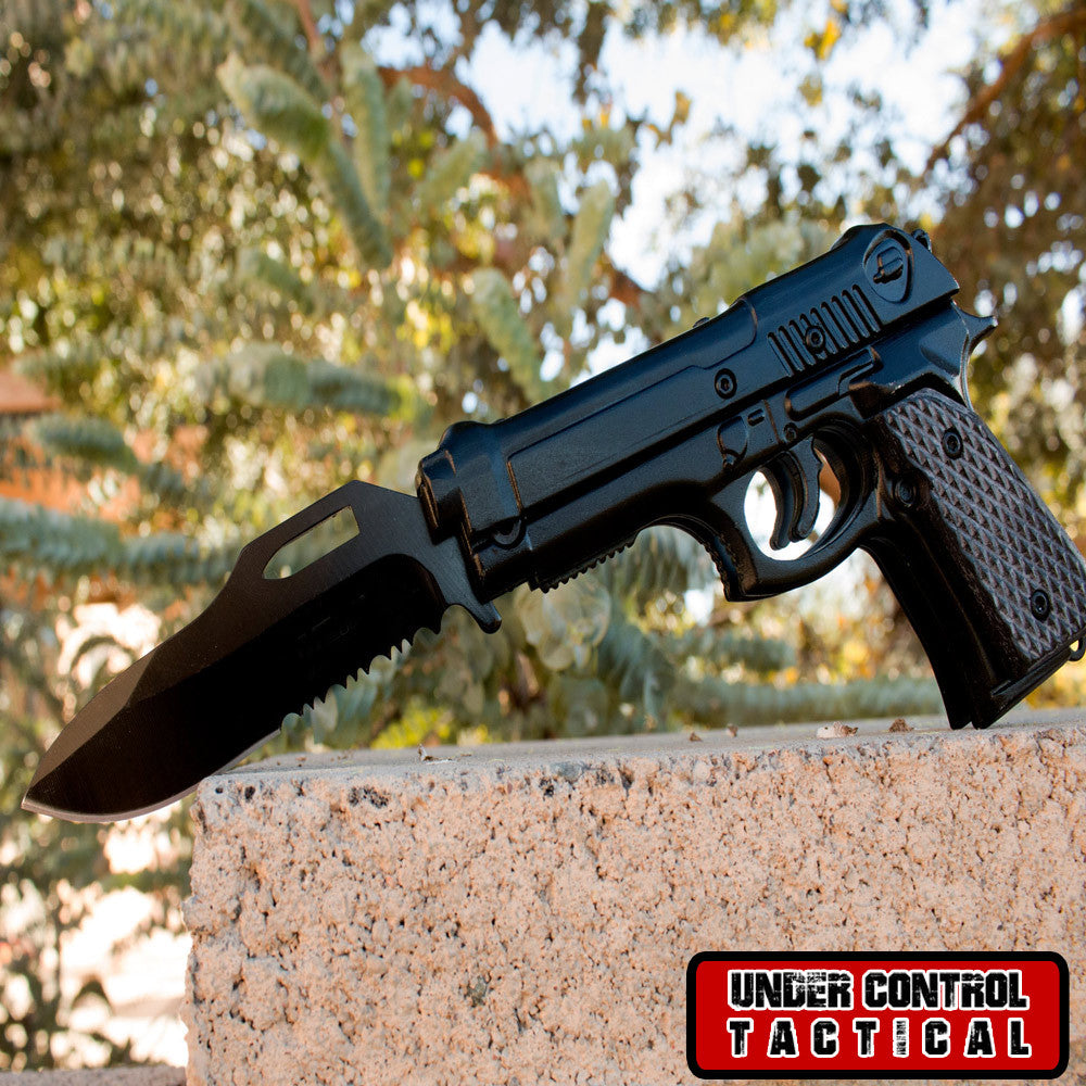 Black 1911 Pistol Knife for Gun Lovers - Under Control Tactical - 1