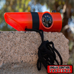 7-in-1 Orange Emergency Survival Tool with Whistle - Under Control Tactical - 1