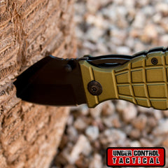 "Best Grenade Folding Pocket Knife - Special ""Military"" Edition - Under Control Tactical - 1"