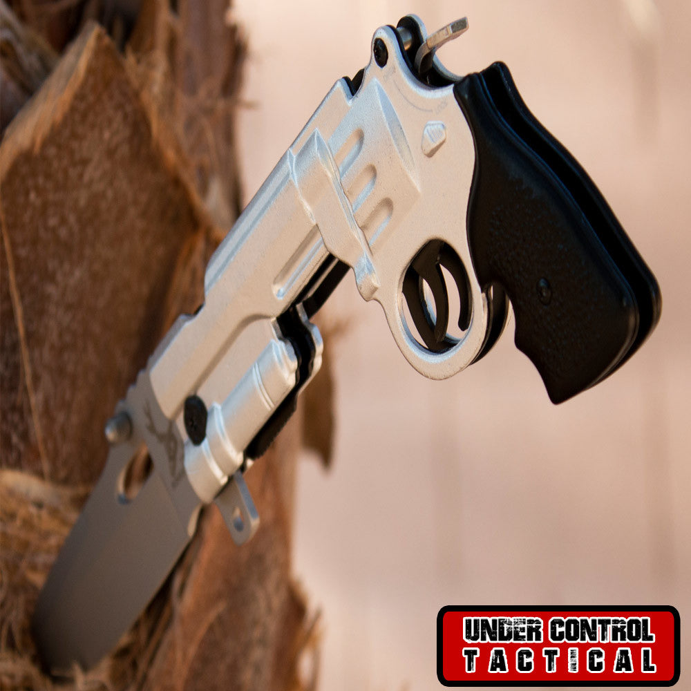 Best Silver Pistol Revolver Knife for Gun Lovers - Under Control Tactical - 1