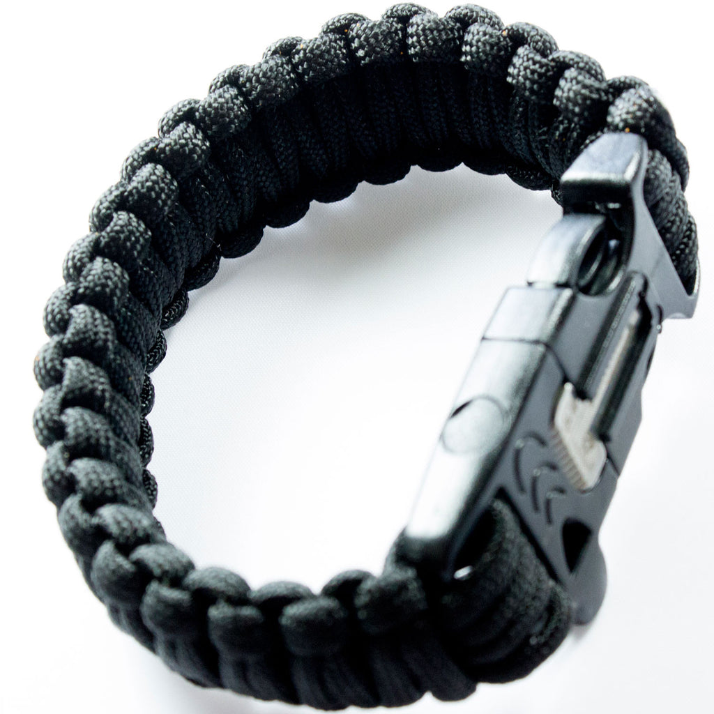 Black 550 Paracord Bracelet for Survival & Camping - Includes Built-In Emergency Whistle & Firestarter! - Under Control Tactical - 2