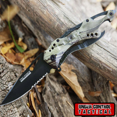 "8"" Camo Tactical Spring Assisted Folding Knife - Under Control Tactical - 1"