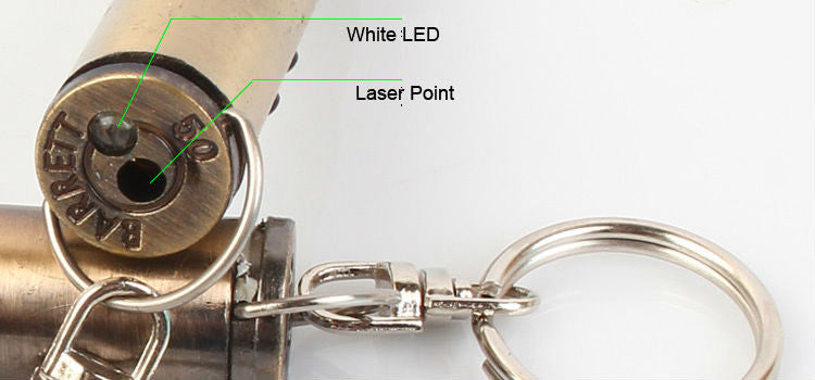 Bullet Keychain with Writing Pen, Laser, and LED Light - Under Control Tactical - 6