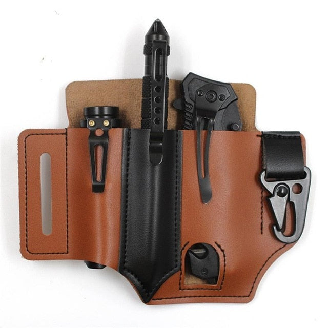 Tactical Leather Belt Sheath for EDC
