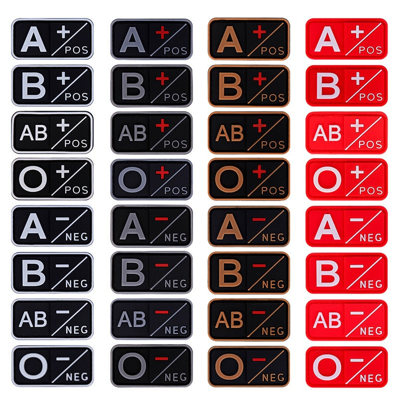 Tactical Blood Type Military Patches