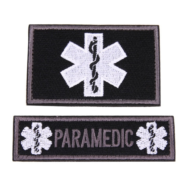 2 Piece Set 3D Embroidered Patches Paramedic