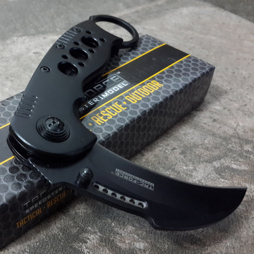 Black Karambit Spring Assisted Claw Pocket Knife - Under Control Tactical - 8