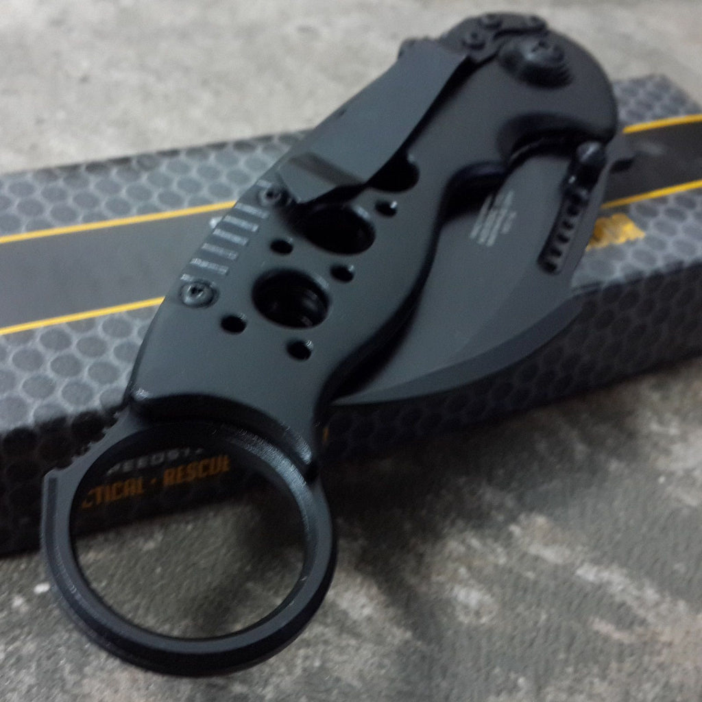 Black Karambit Spring Assisted Claw Pocket Knife - Under Control Tactical - 7