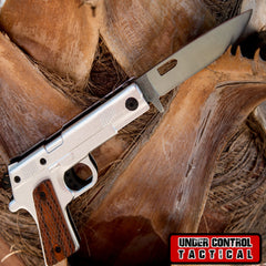 Spring-Assisted 1911 Gun Knife with Folding Handle - Under Control Tactical - 1