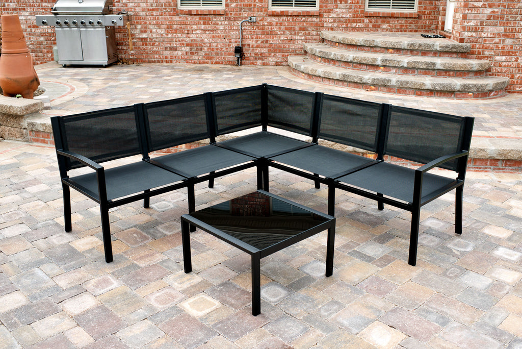 Maybranch Modular Outdoor Black Patio Furniture Traxion Engineered