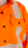 Image of pencil pocket in MWG COMFORT WEAVE button-down shirt. Pencil slides in above right chest pocket. Shirt is bright orange in colour with silver segmented reflective tape.