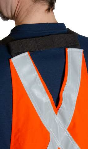Image of back bib strap. It is bright orange in colour with silver reflective tape.