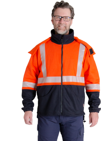 Image of MWG BLOCKER full-zip hooded sweatshirt. Orange and navy in colour with silver segmented reflective tape both horizontal and vertical. Hood is detachable, buttons hold it in place.