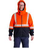 Image of MWG BLOCKER full-zip hooded sweatshirt. Hood features flaps with velcro to enclose over your neck. Orange and navy in colour with silver segmented reflective tape.