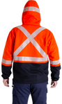 Image of the back of MWG BLOCKER full-zip hoodie. Orange and navy in colour with silver segmented tape in an X and horizontal on the hood from ear-to-ear.