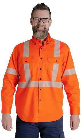MWG COMFORT WEAVE™ Men's 7oz FR/ARC Button Shirt (Orange) - 72B11
